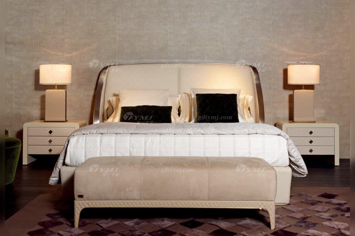 时尚轻奢万博手机网页意大利100%纯进口别墅豪华万博手机网页卧室双人床