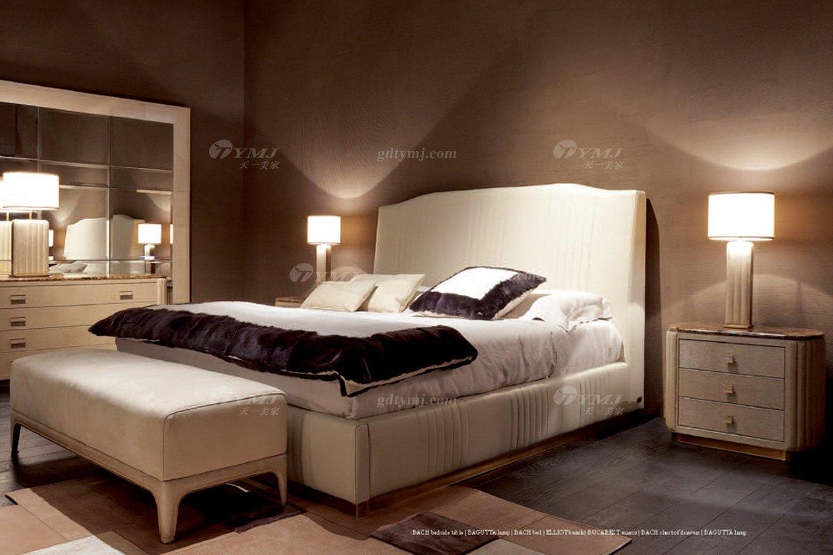 轻奢别墅家具意大利纯进口会所豪宅家具卧室时尚双人大床系列