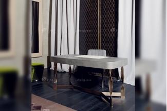 时尚轻奢别墅家具品牌意大利100%纯进口会所豪宅家具真皮+五金书桌椅组合
