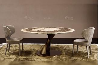 时尚轻奢家具100纯进口意大利家具品牌艺术手绘面五金底餐桌椅