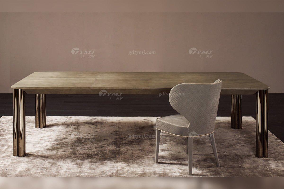 意大利100%纯进口时尚轻奢家具品牌别墅家具奢华五金餐桌椅组合