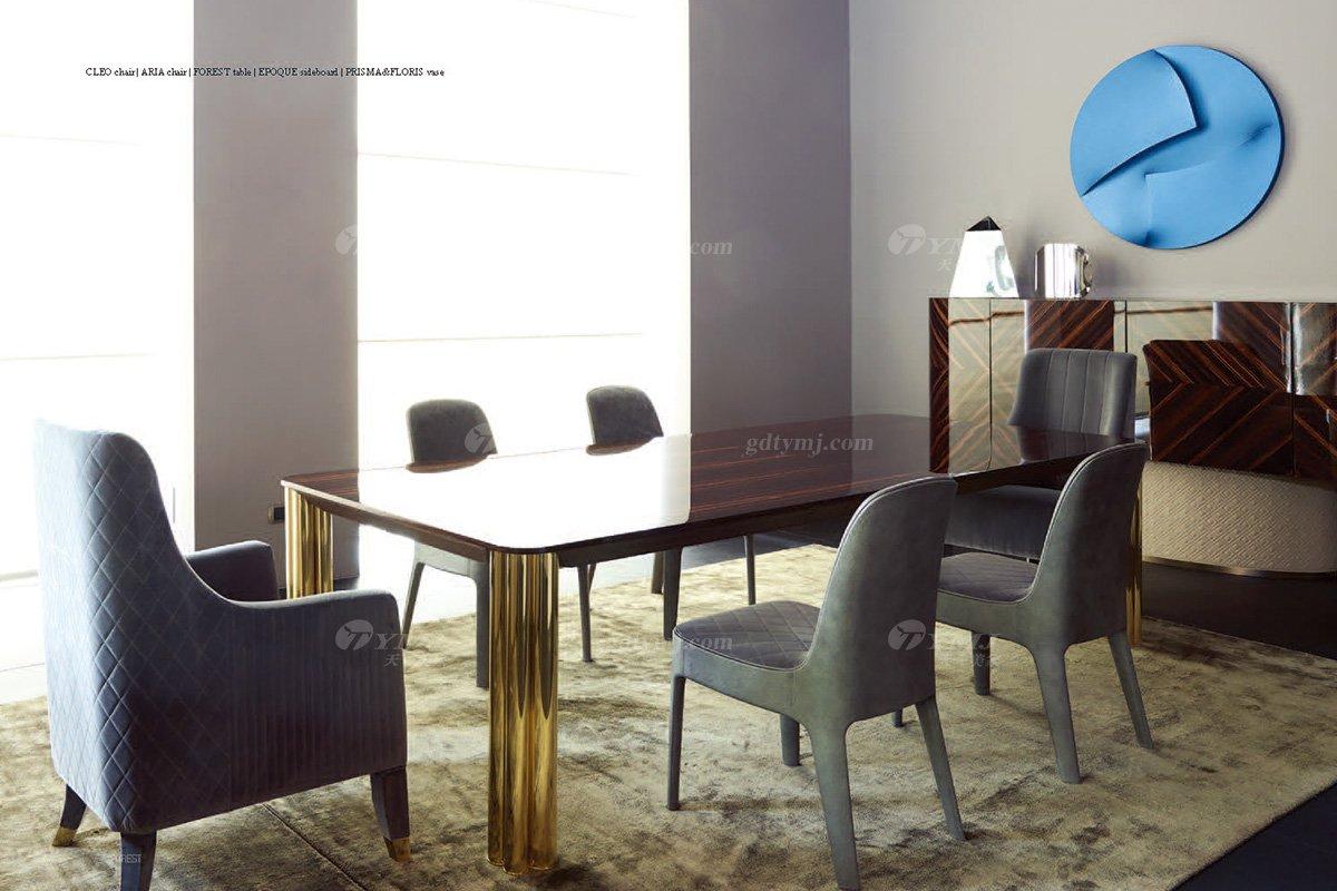 意大利100%纯进口时尚轻奢家具品牌别墅家具奢华五金餐桌椅组合餐桌椅组合