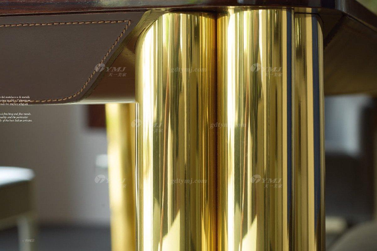 意大利100%纯进口时尚轻奢家具品牌别墅家具奢华五金餐桌椅组合餐桌五金细节