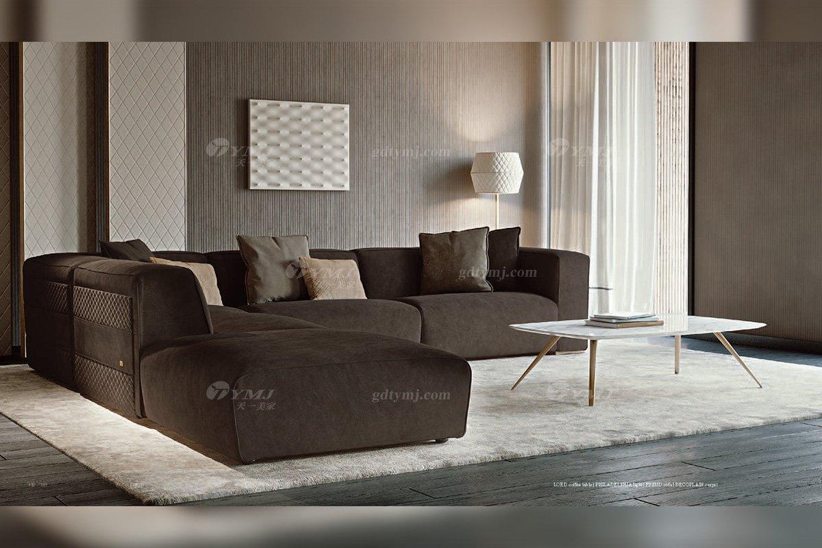 时尚轻奢会所家具意大利100%纯进口别墅家具品牌客厅高弹海棉布艺深咖色组合