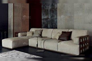 高端意大利纯进口家具品牌别墅客厅高弹海棉灰色布艺组合沙发
