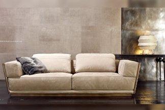 奢华高端家具意大利纯进口家具品牌时尚轻奢米色绒布艺沙发