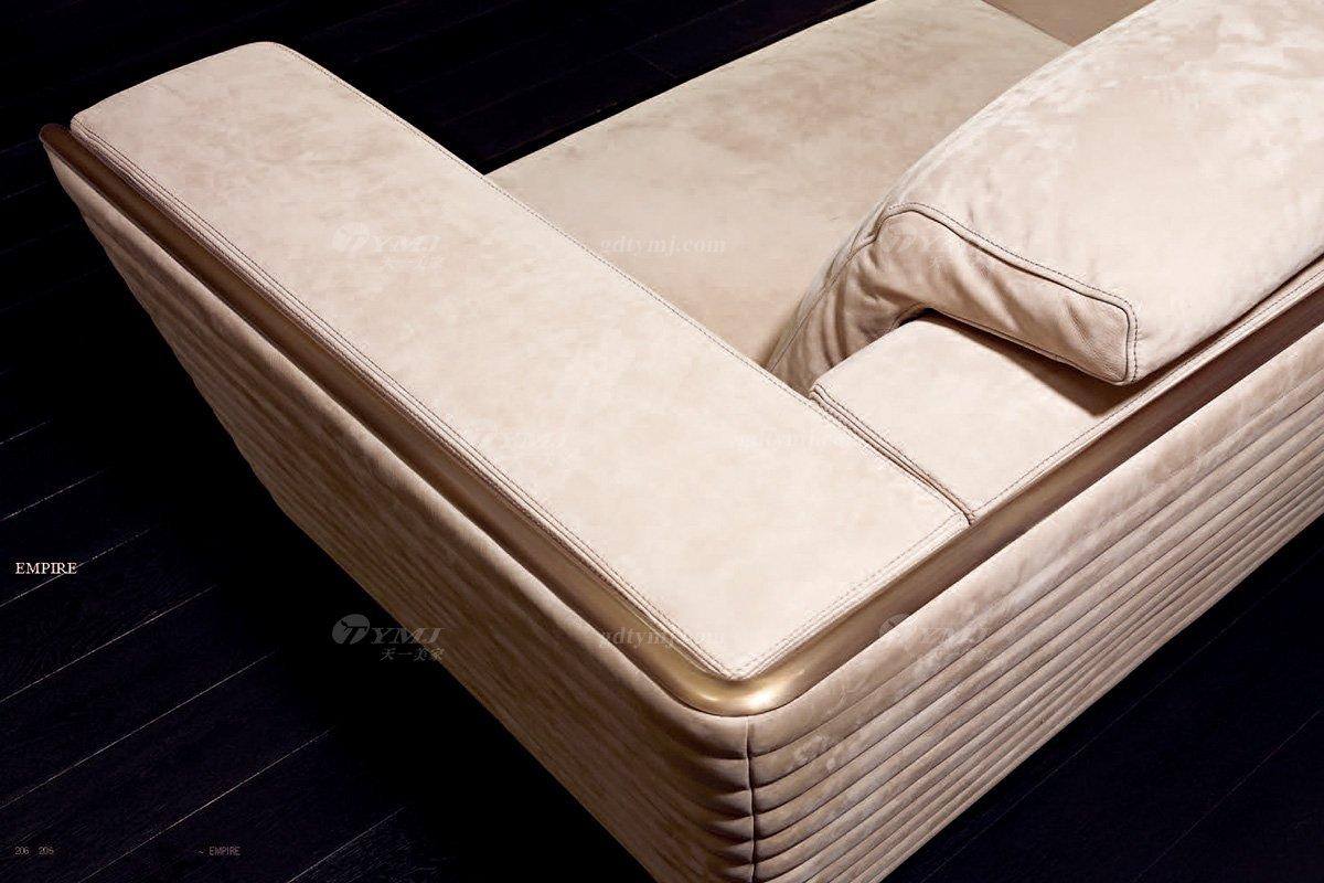 奢华高端家具意大利纯进口家具品牌时尚轻奢米色绒布艺沙发沙发细节