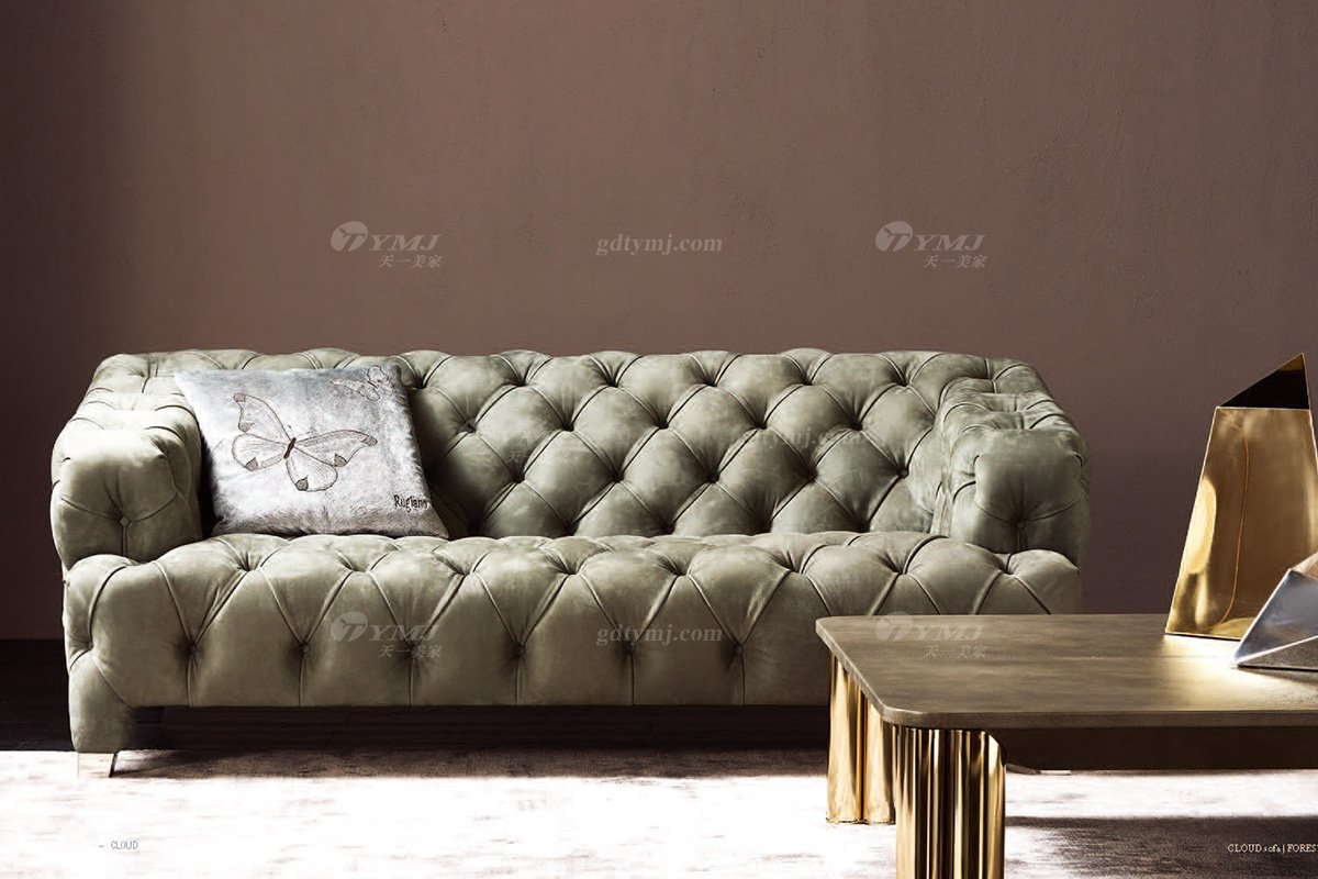 时尚轻奢别墅万博手机网页意大利纯进口品牌创意拉扣高弹海棉沙发沙发1