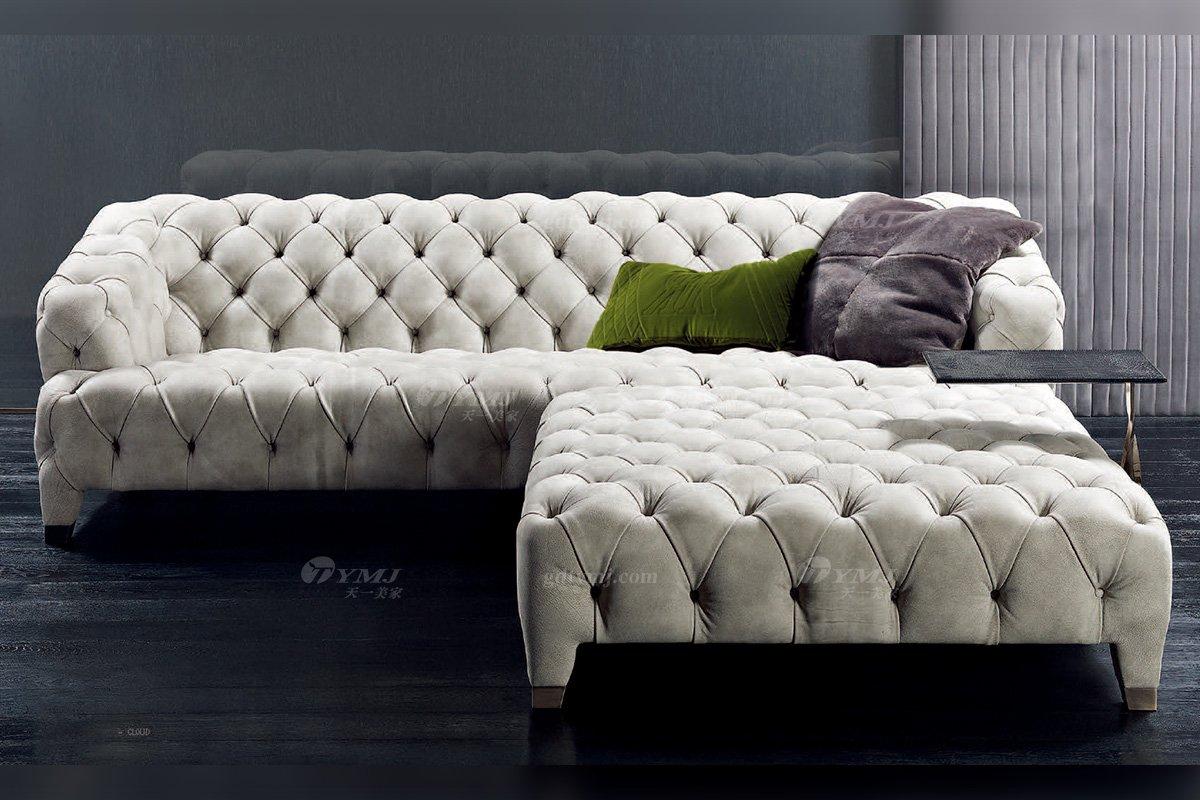 时尚轻奢别墅家具意大利纯进口品牌创意拉扣高弹海棉沙发