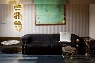 高端奢华意大利进口时尚轻奢万博手机网页品牌客厅黑色布艺软包双人沙发