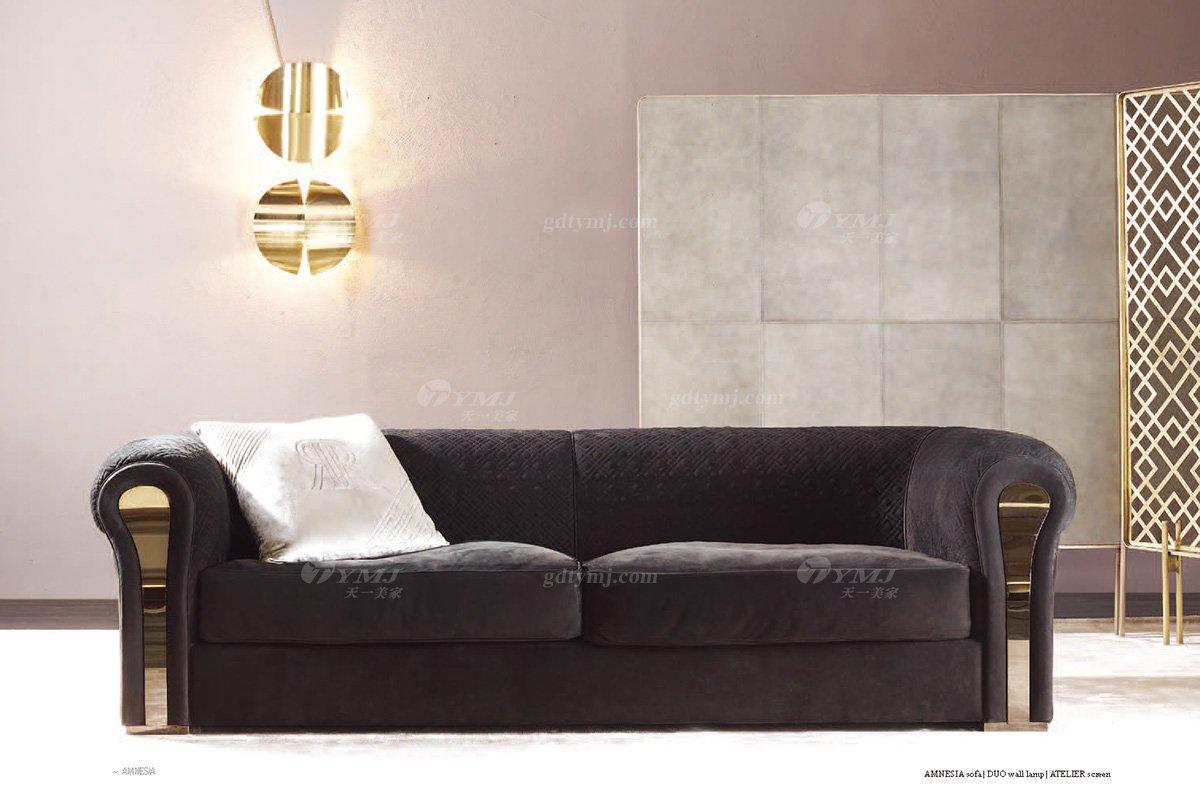 高端奢华意大利进口时尚轻奢家具品牌客厅黑色布艺软包双人沙发双人沙发1