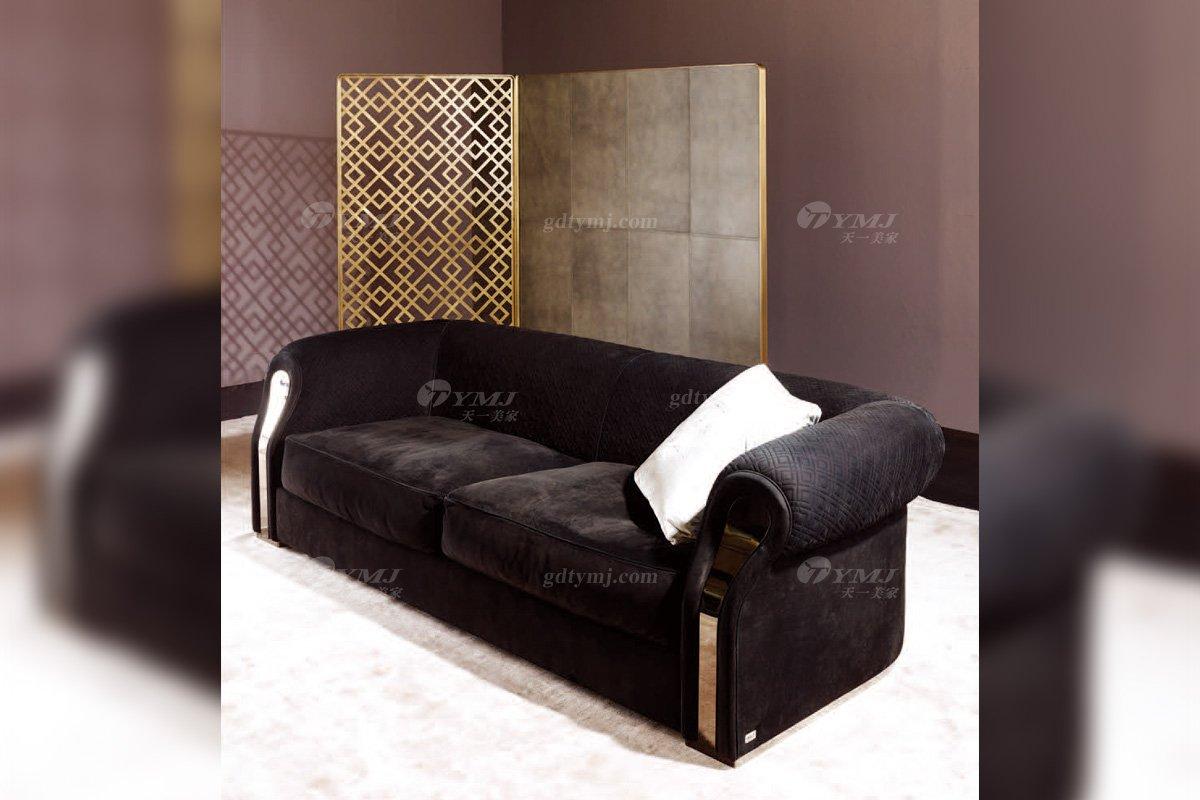高端奢华意大利进口时尚轻奢家具品牌客厅黑色布艺软包双人沙发双人沙发2