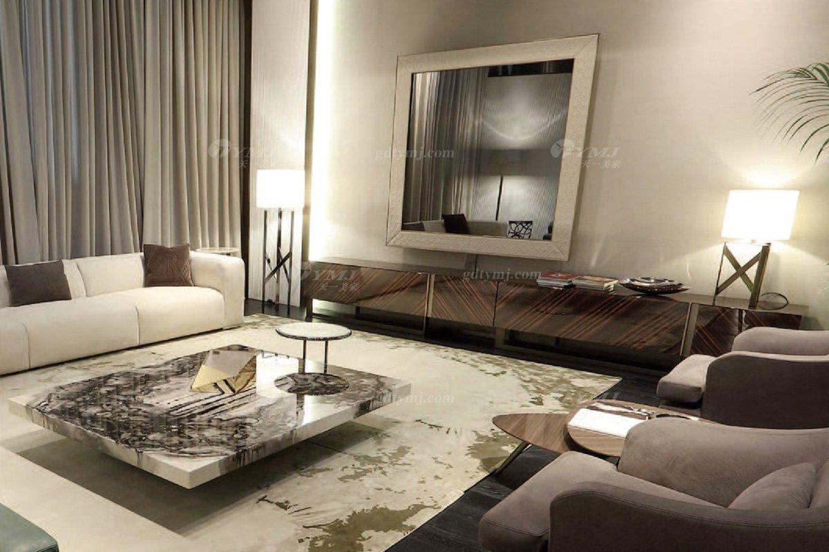 时尚轻奢家具意大利纯进口奢华品牌客厅真皮沙发组合系列沙发组合场景