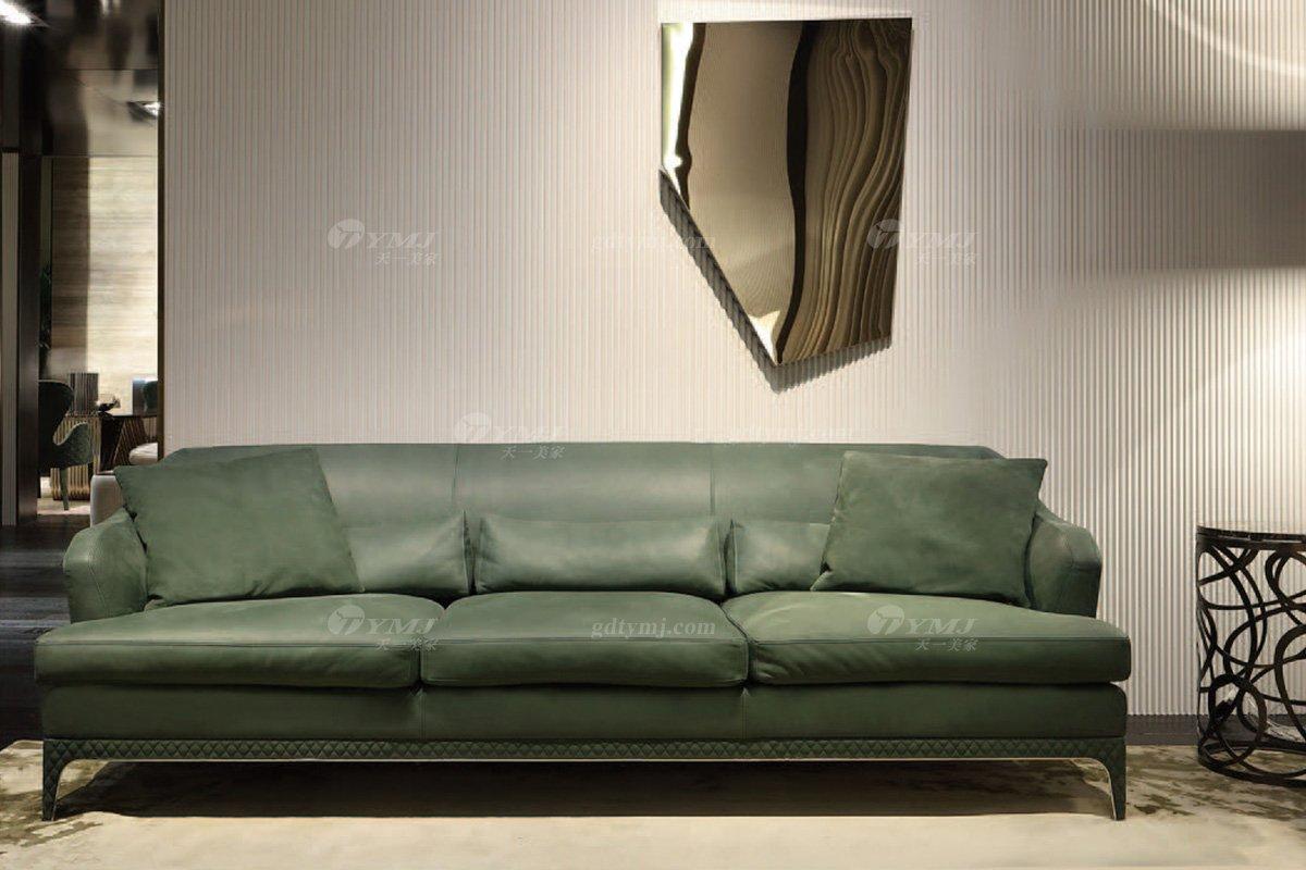 时尚轻奢家具意大利纯进口奢华品牌客厅真皮沙发组合系列三位沙发