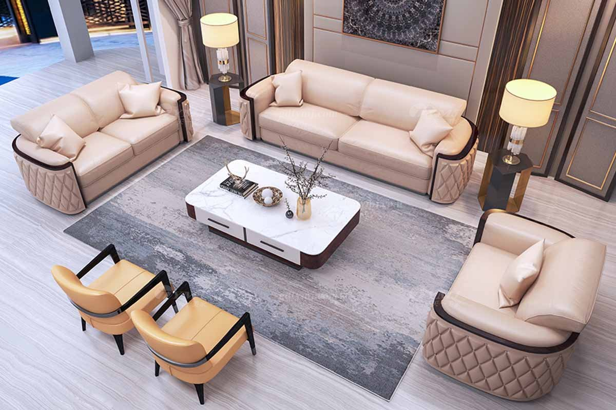 时尚豪宅别墅万博手机网页奢华会所万博手机网页后现代客厅轻奢真皮沙发组合