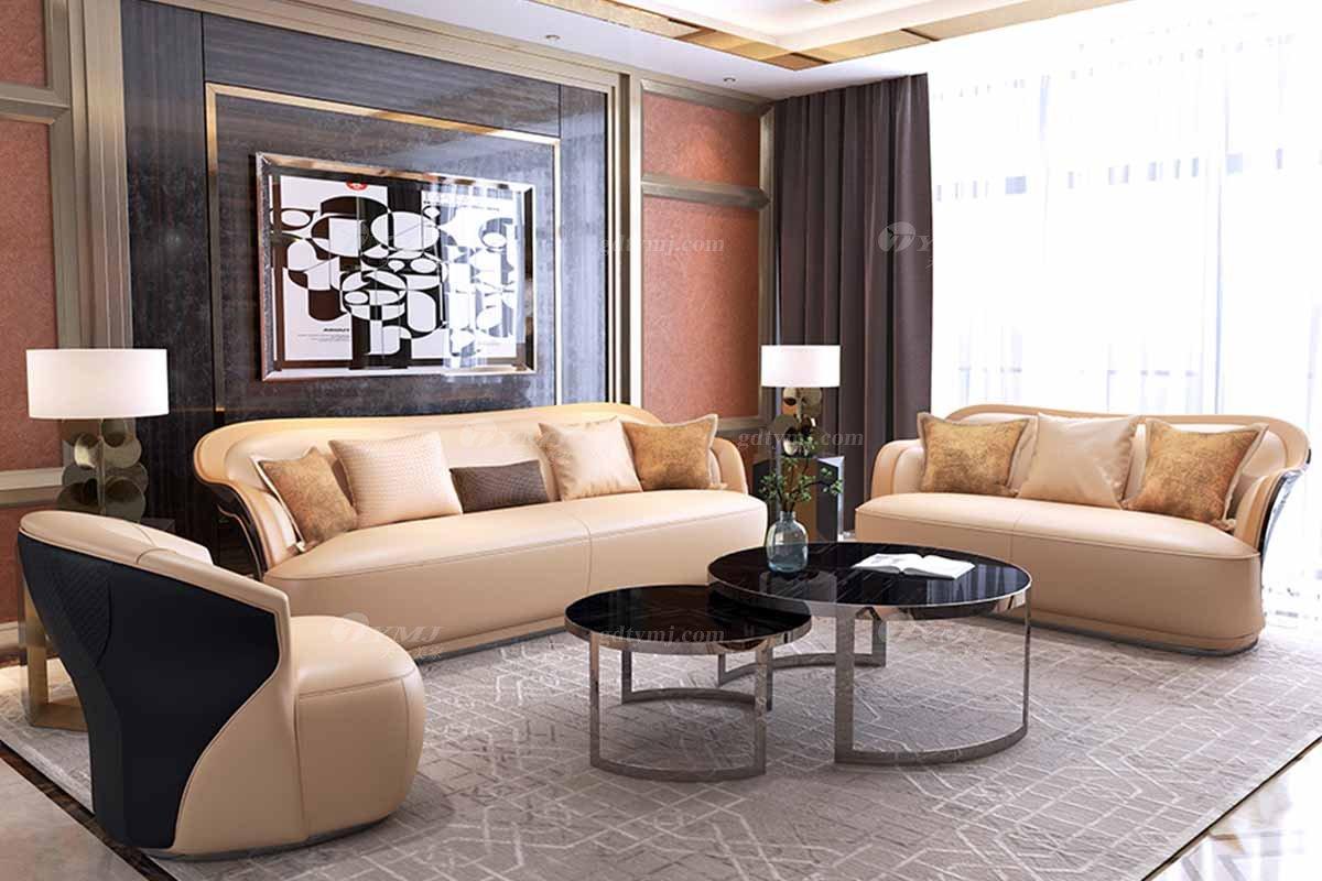 奢华豪宅别墅万博手机网页会所万博手机网页后现代客厅橙色真皮时尚轻奢沙发组合