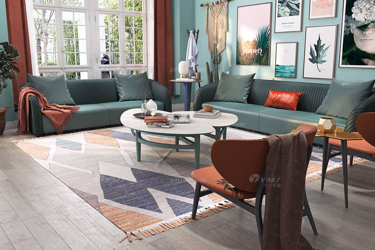 豪华别墅万博手机网页奢华会所万博手机网页轻奢后现代客厅时尚绿色生态皮沙发组合