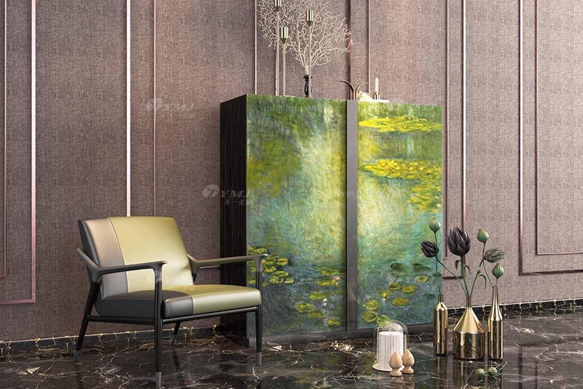 时尚奢华别墅万博手机网页高档会所万博手机网页轻奢后现代绿色彩绘多功能柜