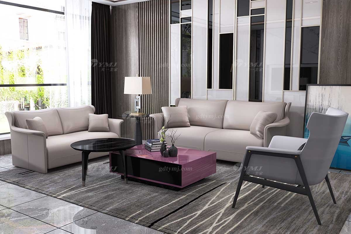 奢华别墅万博手机网页时尚样板间万博手机网页轻奢后现代客厅头层皮沙发组合
