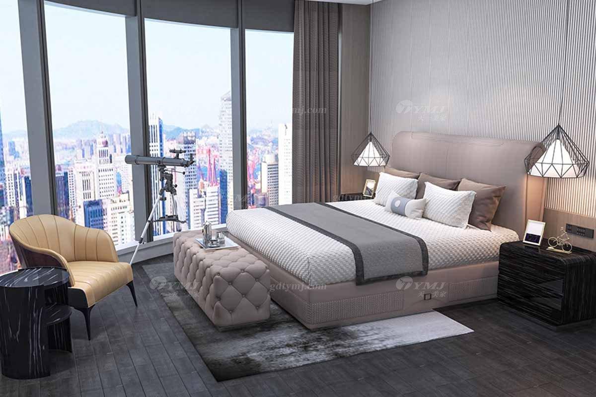 高端别墅会所家具时尚样板间家具轻奢后现代卧室真皮双人大床系列