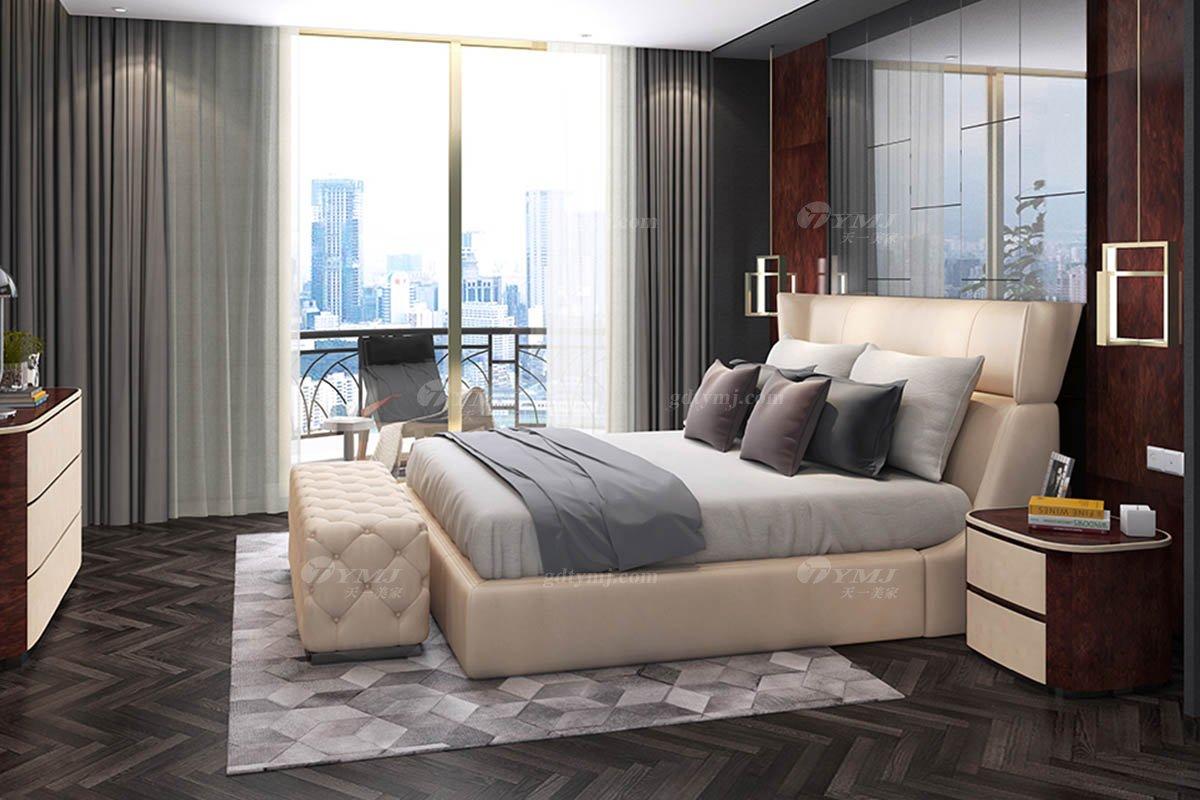 高端别墅会所家具时尚奢华样板间家具轻奢后现代卧室真皮双人大床系列