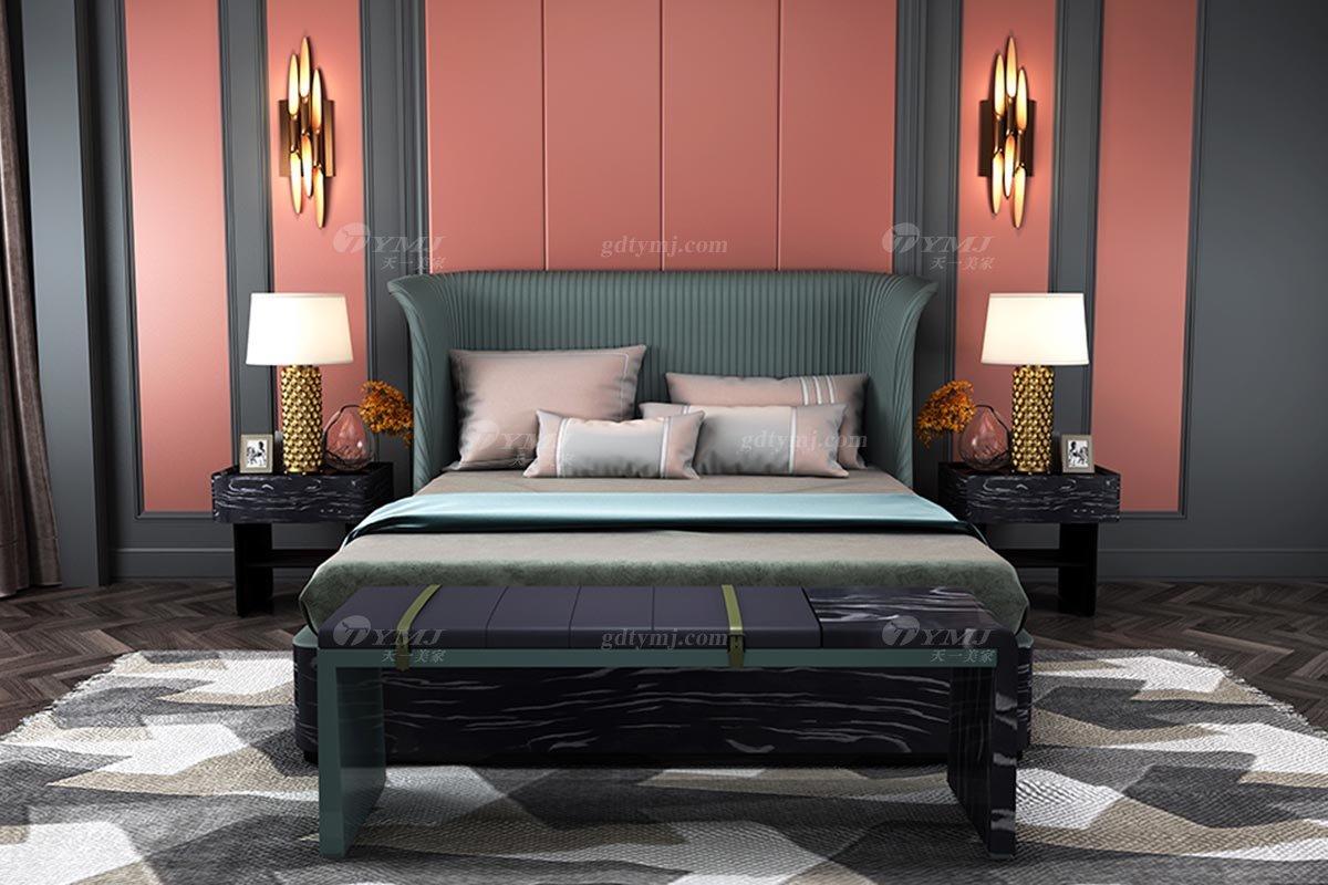 奢华别墅家具时尚奢华样板间家具轻奢后现代卧室绒面黑蝴蝶绿色双人大床系列