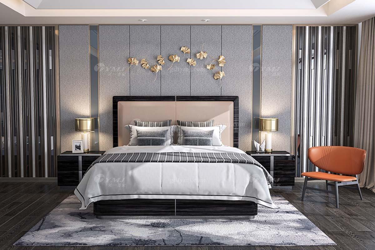 奢华别墅家具时尚奢华样板间家具轻奢后现代卧室黑檀双人大床系列