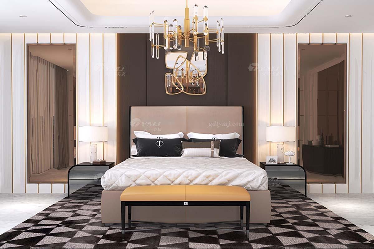 奢华别墅家具时尚奢华样板间家具轻奢后现代卧室真皮双人大床系列