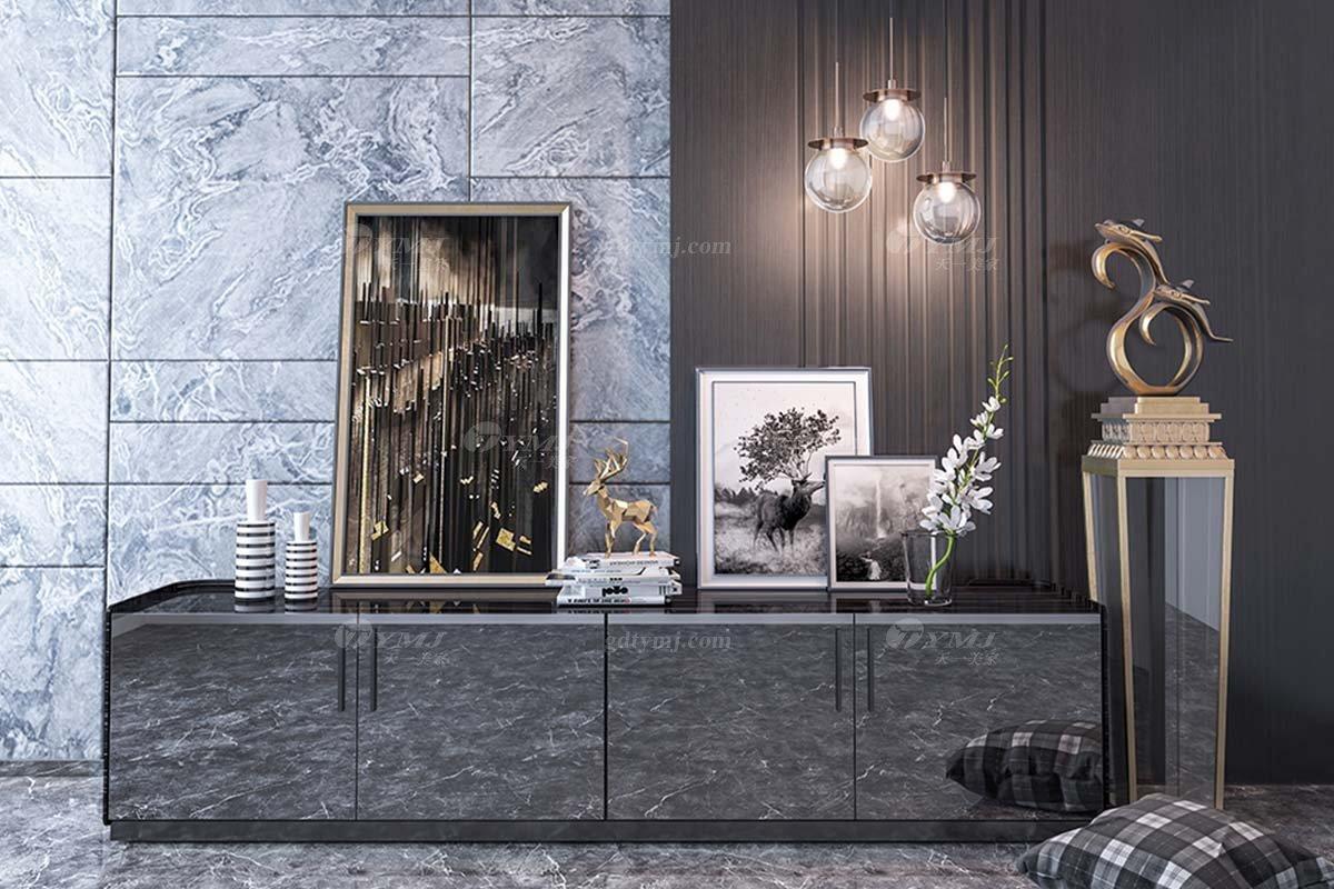 时尚别墅家具会所家具样板间家具轻奢后现代餐厅黑檀大地柜电视柜