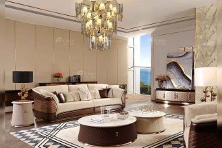 奢华别墅家具品牌样板间家具轻奢后现代客厅真皮沙发组合系列