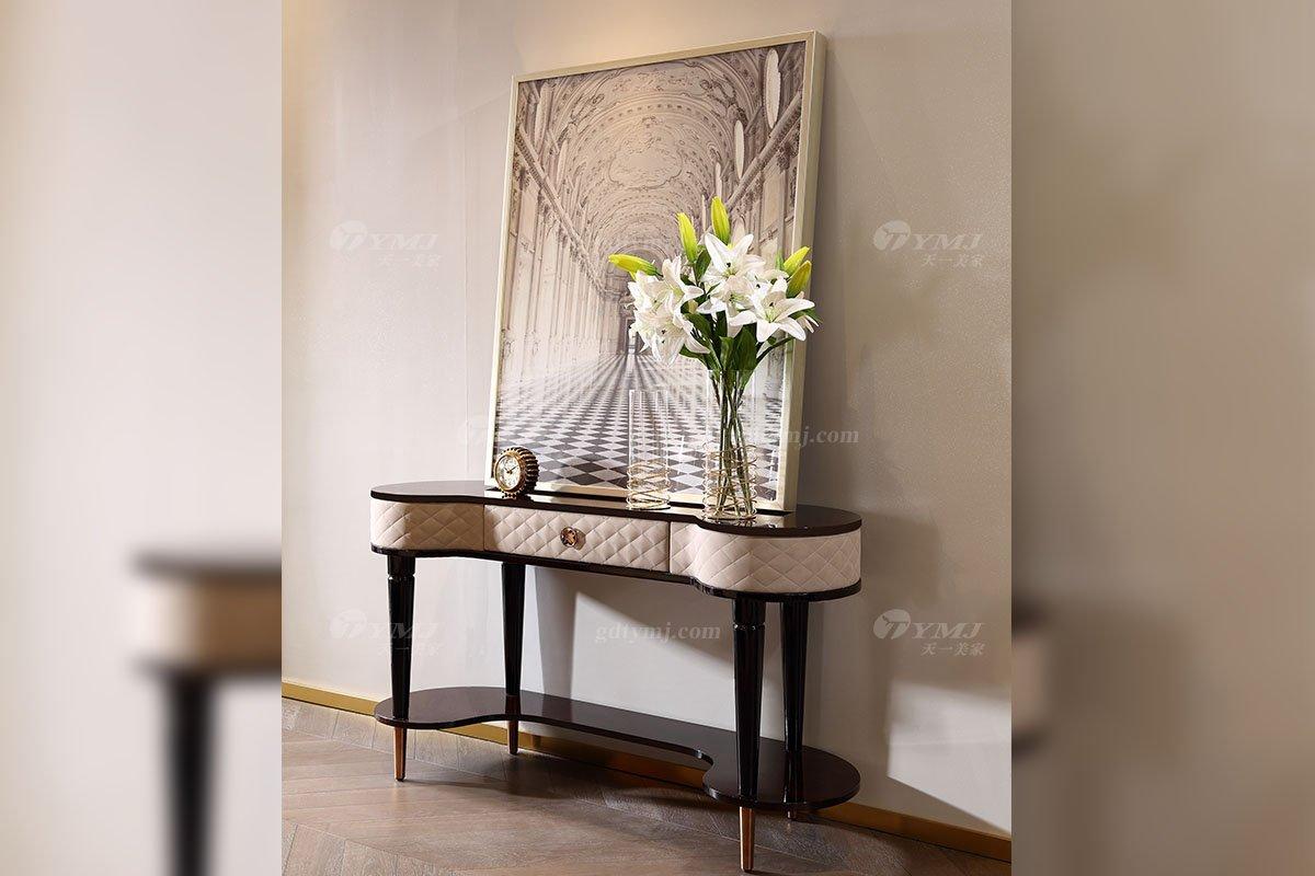 奢华别墅家具品牌高端样板间家具轻奢后现代时尚黑胡桃树榴玄关台