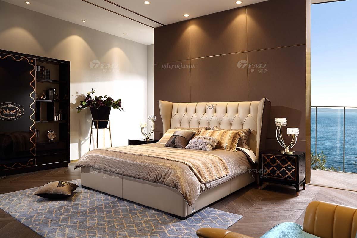 奢华别墅家具品牌高端样板间家具轻奢后现代卧室大气头层真皮双人大床系列