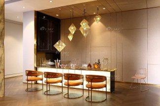 奢华会所家具品牌高端样板间家具轻奢后现代时尚爱马仕橙头层皮吧椅