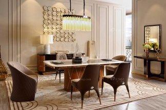 奢华会所家具品牌高端样板间家具轻奢后现代卧室时尚餐厅大理石面餐桌餐椅组合