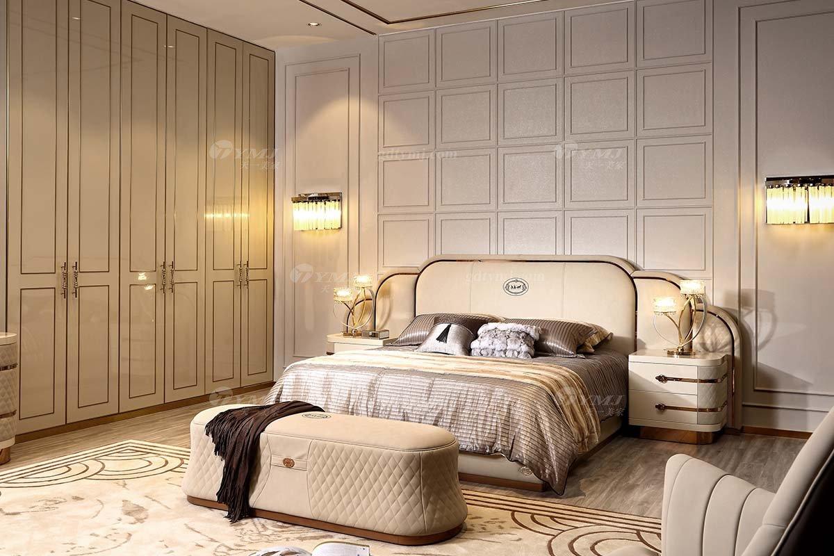 别墅豪宅家具品牌高端样板间家具轻奢后现代卧室时尚头层皮双人大床组合