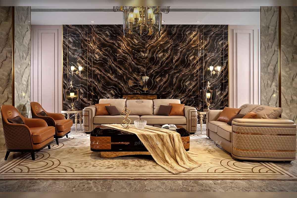 高端别墅豪宅家具品牌高端样板间家具轻奢后现代时尚头层皮沙发组合