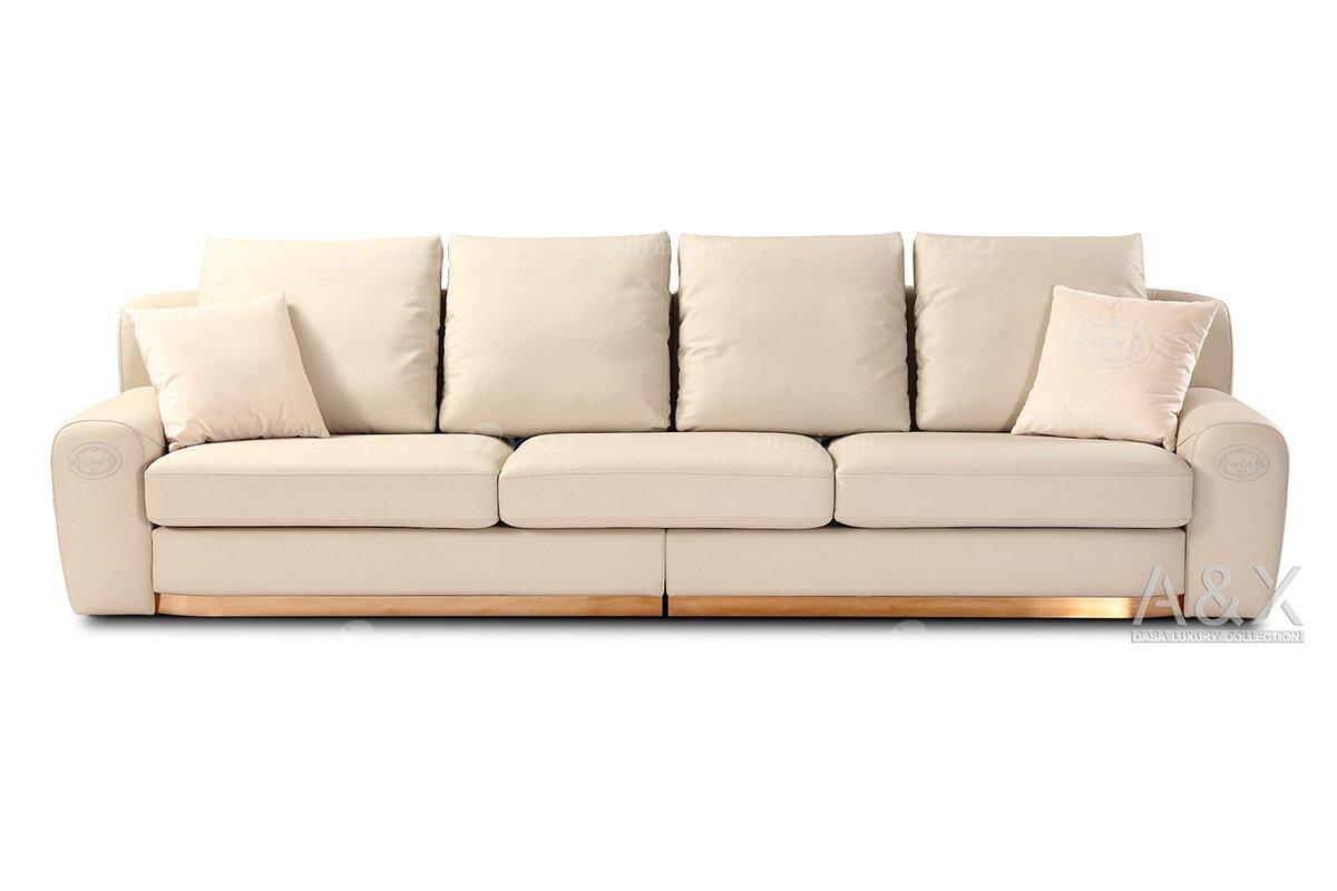 高端别墅豪宅家具品牌高端样板间家具轻奢后现代时尚米白色头层皮四位沙发