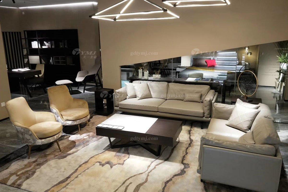 高端别墅万博手机网页品牌轻奢样板房万博手机网页意式极简风客厅头层皮沙发系列