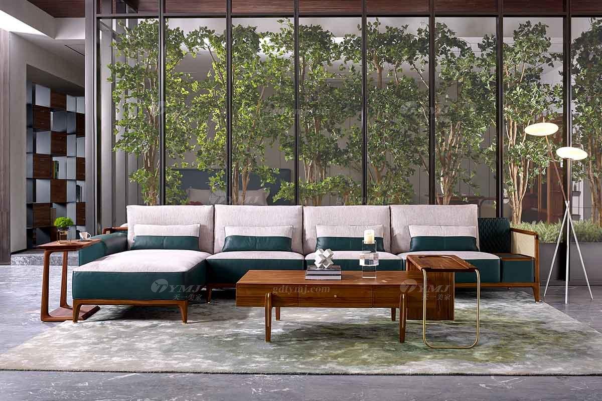 高端会所万博手机网页品牌奢华样板房万博手机网页轻奢新中式风格宝绿真皮沙发