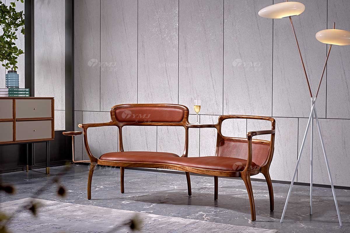 高端会所万博手机网页品牌奢华样板房万博手机网页轻奢新中式风格胡桃色真皮形象椅