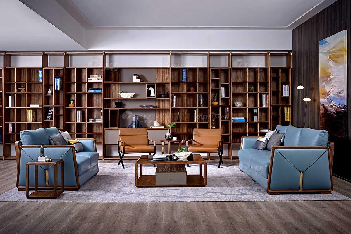 高端会所万博手机网页品牌奢华样板房万博手机网页轻奢新中式风格真皮休闲沙发组合系列