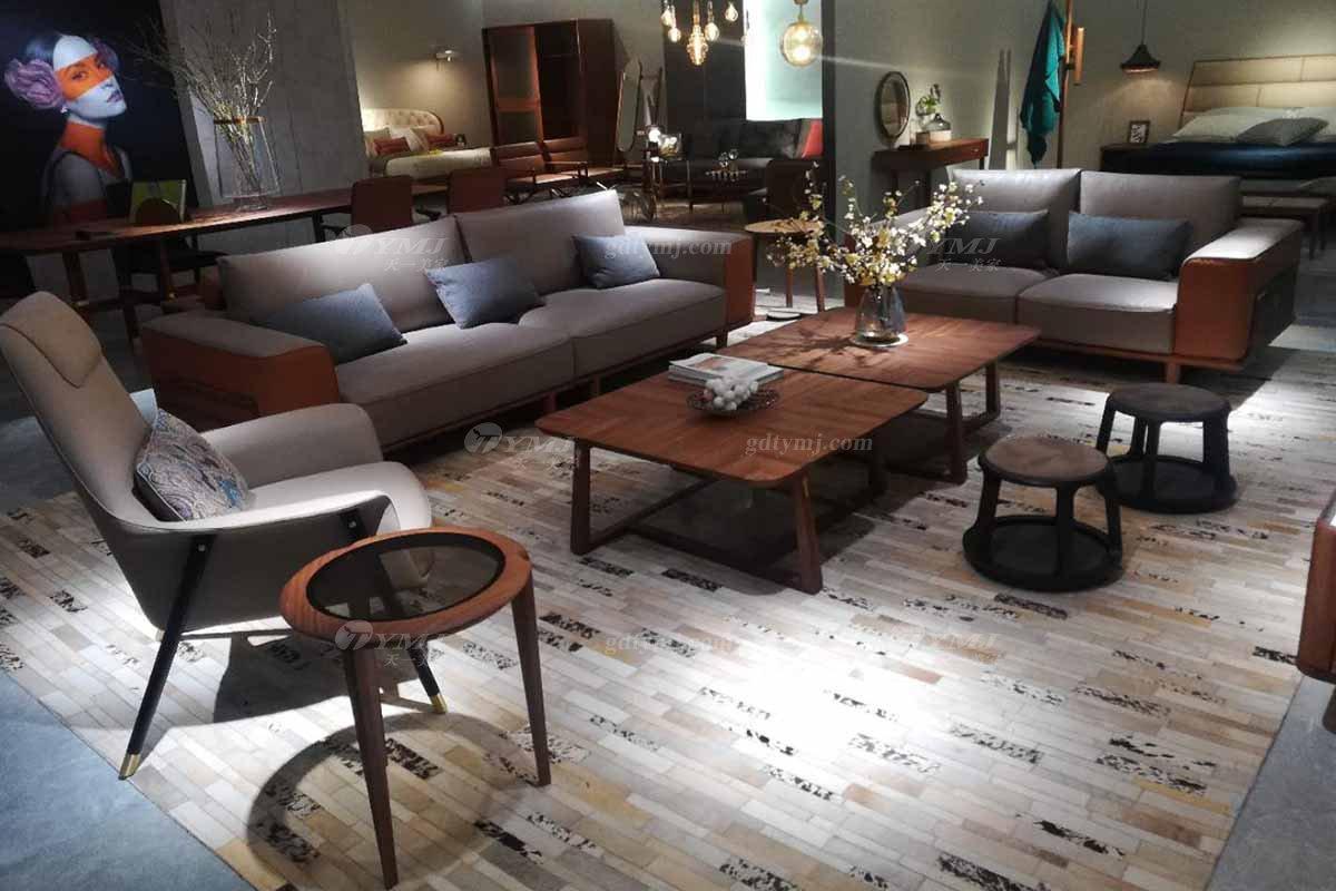 高端别墅家具品牌奢华样板房家具轻奢新中式风格客厅高弹高密度海绵布艺沙发