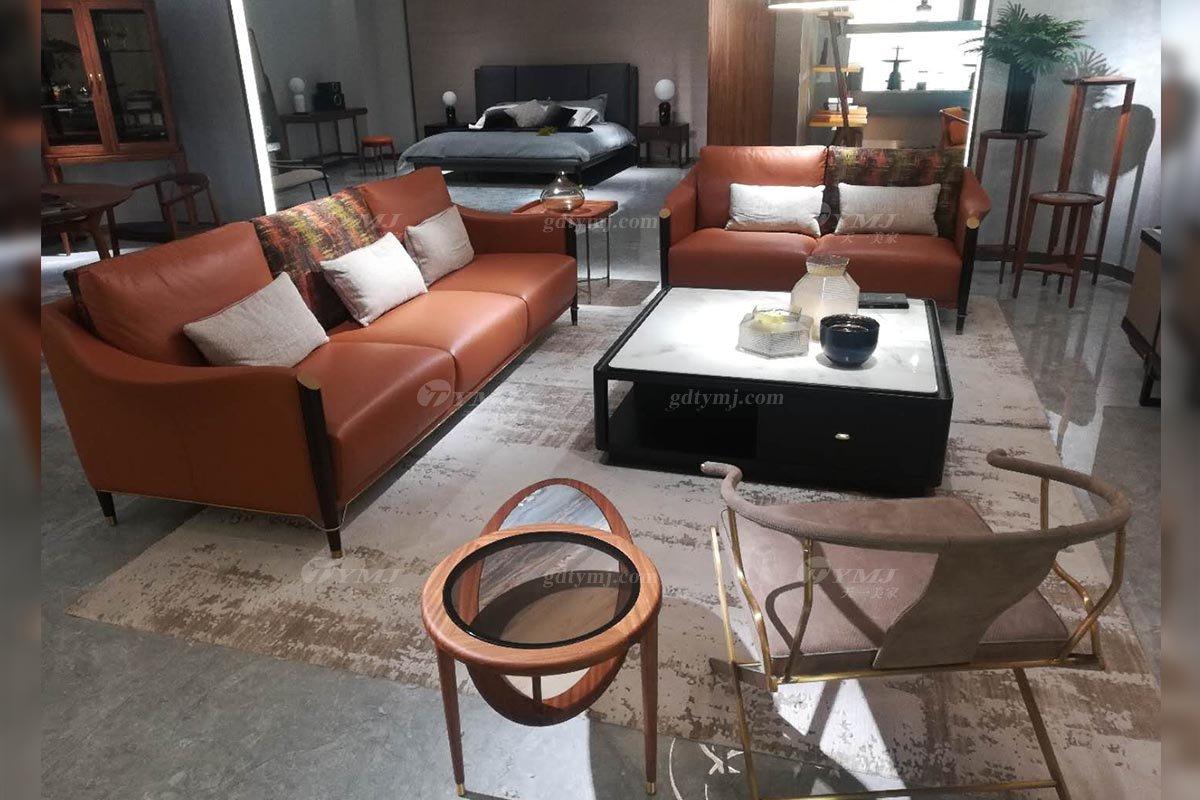 高端别墅家具品牌奢华样板房家具轻奢新中式风格客厅家具橙色真皮沙发系列