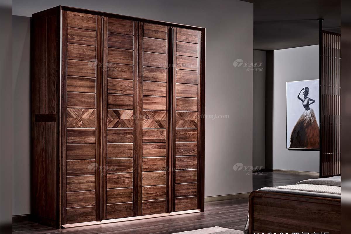 高端会所别墅家具品牌样板房家具轻奢新中式风格黑胡桃实木家具四门衣柜系列