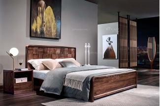 高端会所别墅家具品牌样板房家具轻奢新中式风格黑胡桃实木家具大床系列