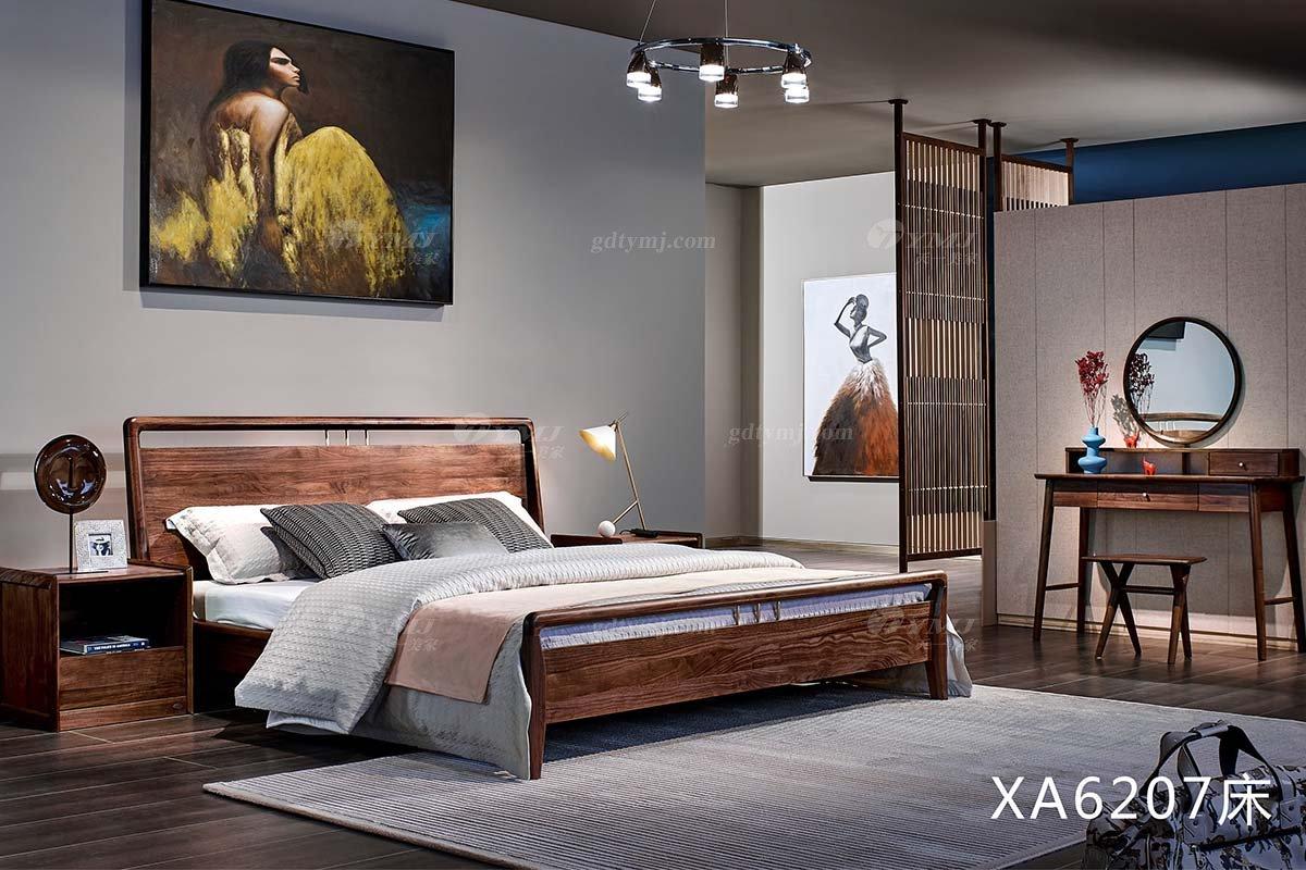 高端会所别墅家具品牌样板房家具轻奢新中式风格黑胡桃实木家具双人大床系列