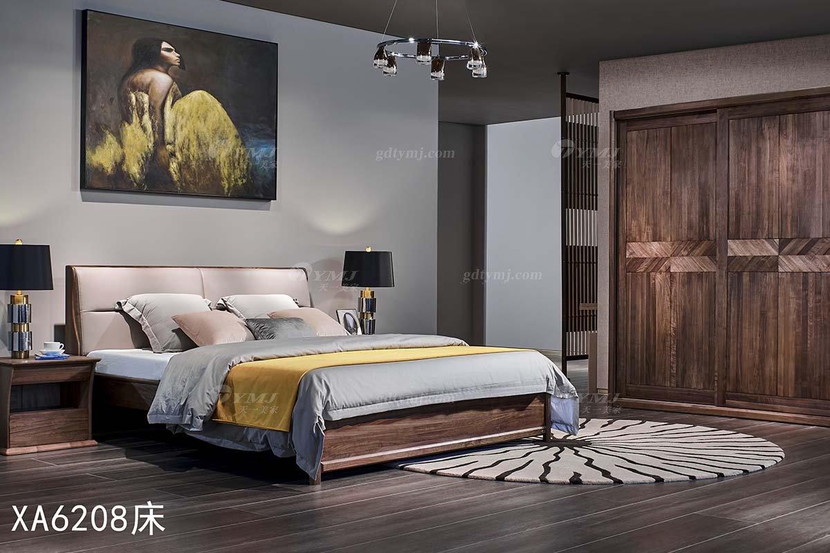 高端会所别墅家具品牌样板房家具轻奢新中式风格黑胡桃实木双人大床系列