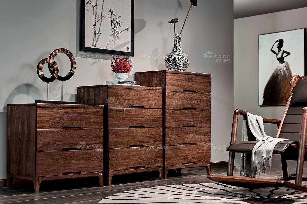高端会所家具品牌高档样板间家具轻奢新中式风格黑胡桃实木斗柜系列