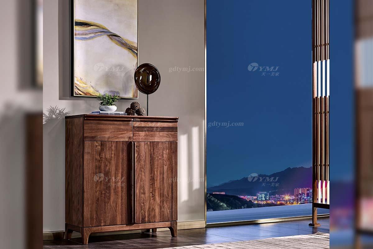 高端会所家具品牌高档样板间家具轻奢新中式风格黑胡桃实木鞋柜系列
