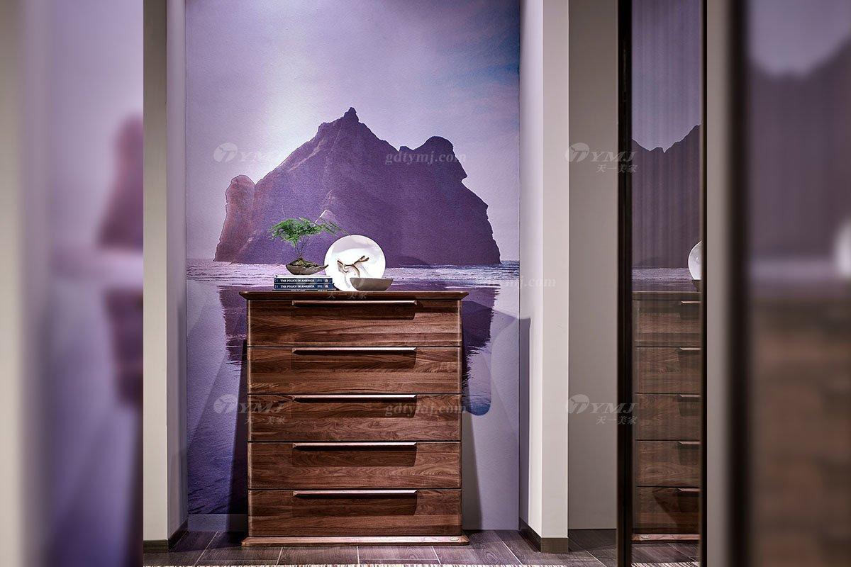 高端别墅家具品牌高档样板间家具轻奢新中式风格黑胡桃实木五斗柜系列